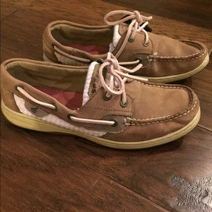Brown and pink Sperry's